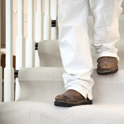stay put canvas on stairs