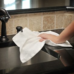 terry cloth towel near sink