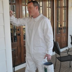 painting outside with polypropylene coveralls