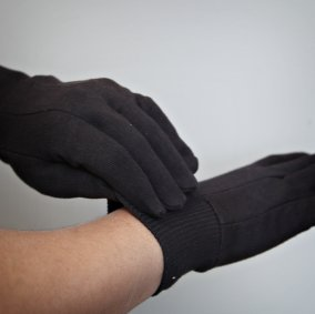 100% Cotton Knit Jersey Gloves Image 1