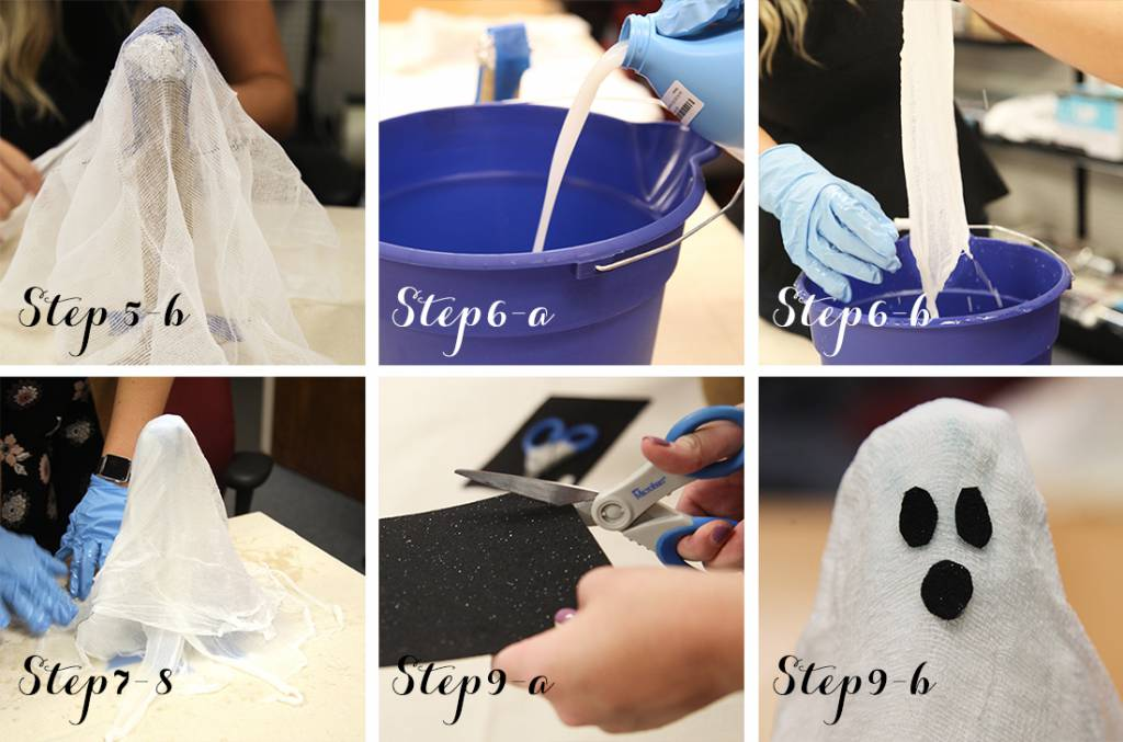 DIY Cheesecloth Ghosts last steps