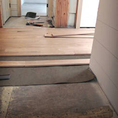 dB4 Max being installed underneath hardwood floors